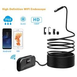 8mm obiektyw WiFi endoskop kamera 1080P HD kamera inspekcyjna 3.5/5/10M twardy drut 6 LED światła endoskop dla androida iPhone