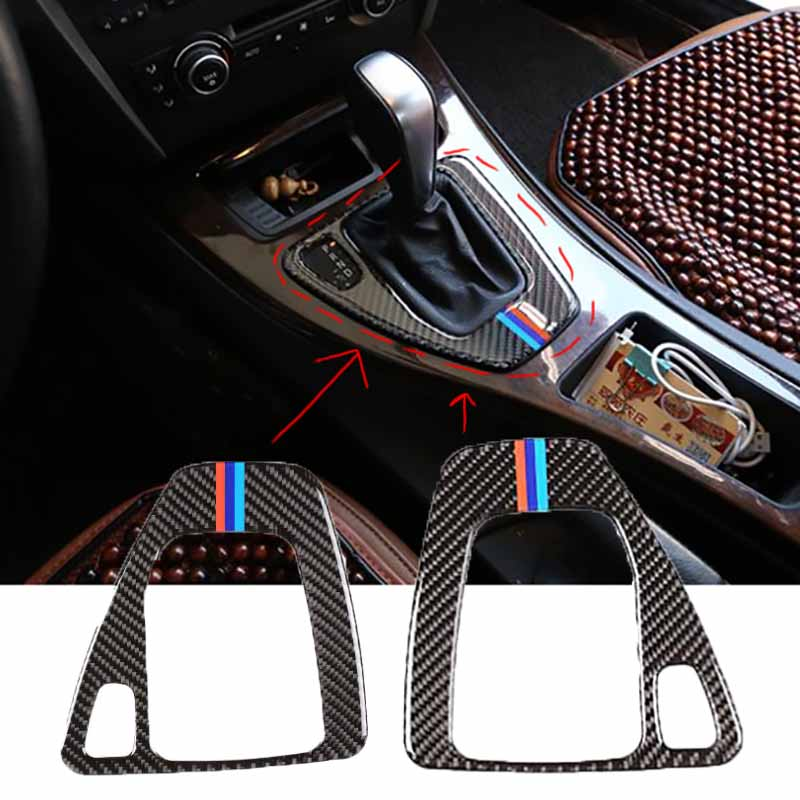 Really Carbon Fiber Gear Shift Box Panel Cover for BMW E90 Car Auto Shift Lever Decal Sticker Trim For BMW E90 E92 E93 Interior