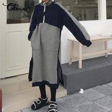 Женское модное платье-свитшот Celmia с высоким воротником, зимнее лоскутное платье миди с длинным рукавом, повседневные платья с карманами и р...