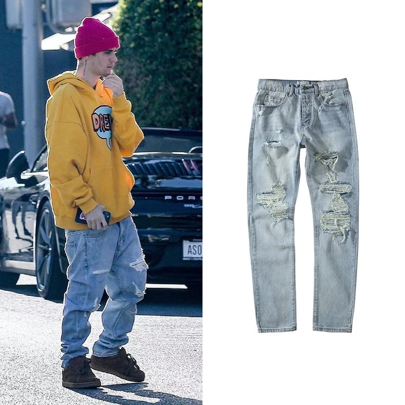 Streetwear Washed Destroyed Jean For Men Blue Ripped Jeans Justin Bieber Hip Hop Hole Denim Pants Male Europe America Fashion