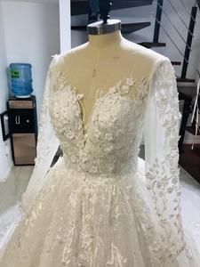 Image 5 - Alonlivn Gorgeous Deep V Neckline Of Chapel Train A Line Wedding Dresses Vestido De Noiva