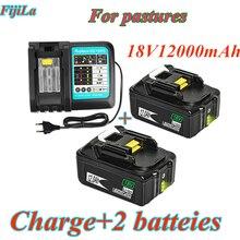 18v 12ah bateria recarregável li-ion bateria ferramenta elétrica de substituição bateria para makita bl1880 bl1860 bl1830 + 3a carregador