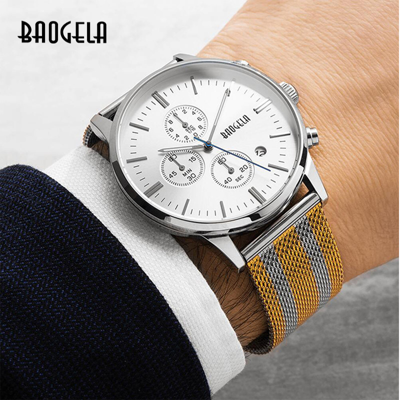 Image 5 - BAOGELA Chronograph New Men Quartz Watch Stainless Steel Mesh Band Gold Watches Slim Men Watches Male Relogio Sports Wristwatch-in Quartz Watches from Watches