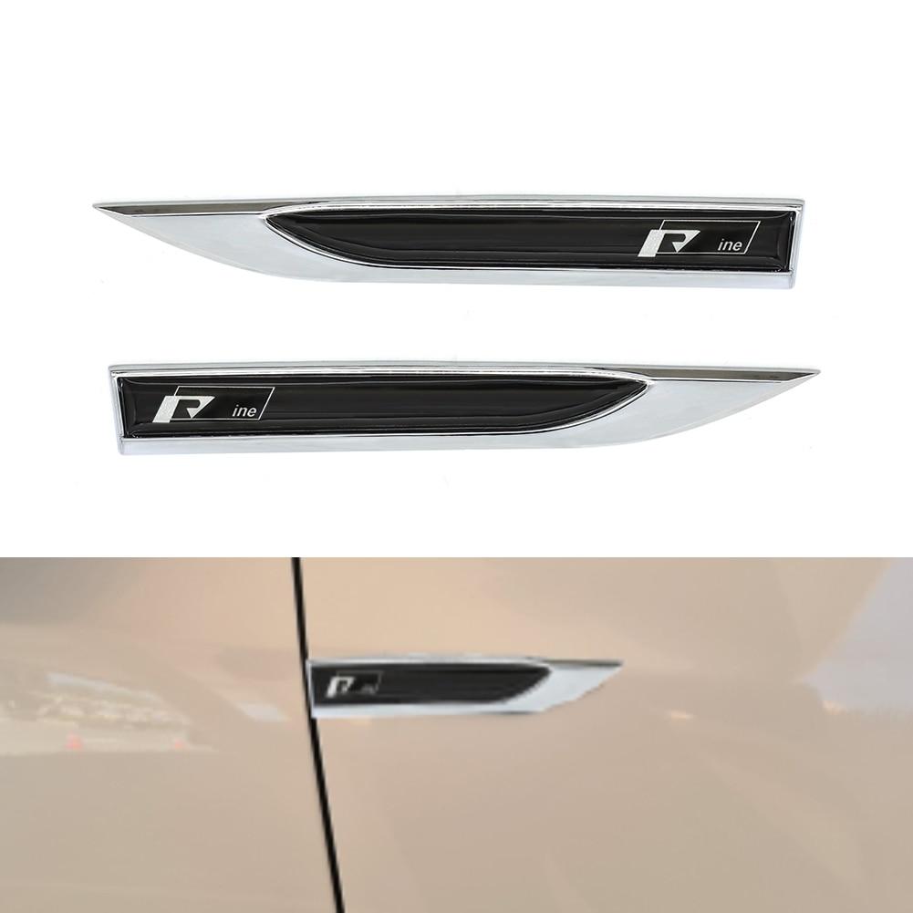 Chrome Emblem Badge Sticker Car Fender Side 3D Pair Knife Trim Styling For R Line For VW