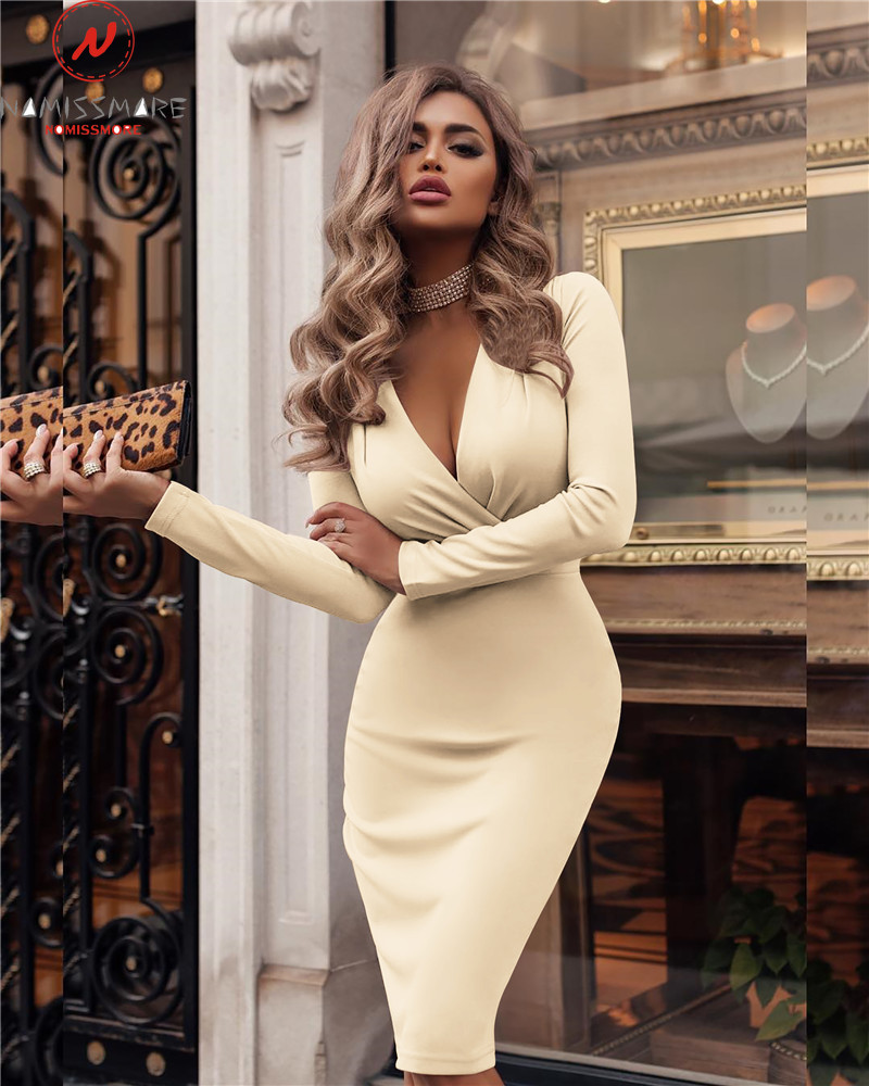 Women Long Sleeve Dress Sexy V-Neck Solid Color Bodycon Dress Wrinkle Decor Ladies Mid Waist Autumn Winter Hip Dress
