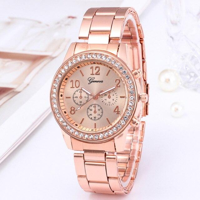 Relógio para mulheres de luxo moda genebra strass aço inoxidável falso três olhos quartzo feminino relógio presente para senhora relógio feminino 2