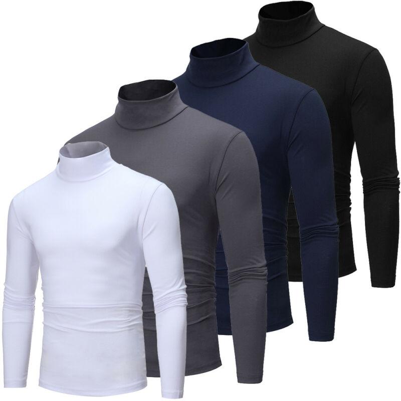 Long Sleeve Turtleneck T-shirt Men Cotton Men's Brand Clothing Stretch Slim Fit Base Tee Shirt Tops High Neck
