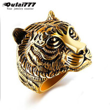 oulai777 Mens rings for men silve black gold ring  punk male dainty wide Ring Stainless Steel Tiger accessories Personality