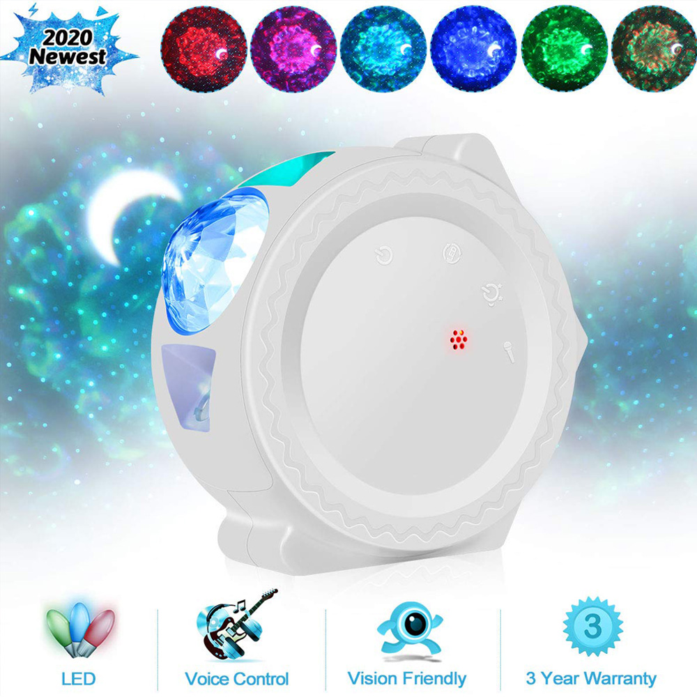 Touch&Voice Night Light Projector Starry Sky Projection Ocean Wave Water Wave Night Lamp Kids 6 Colors cloud lamp nebula light