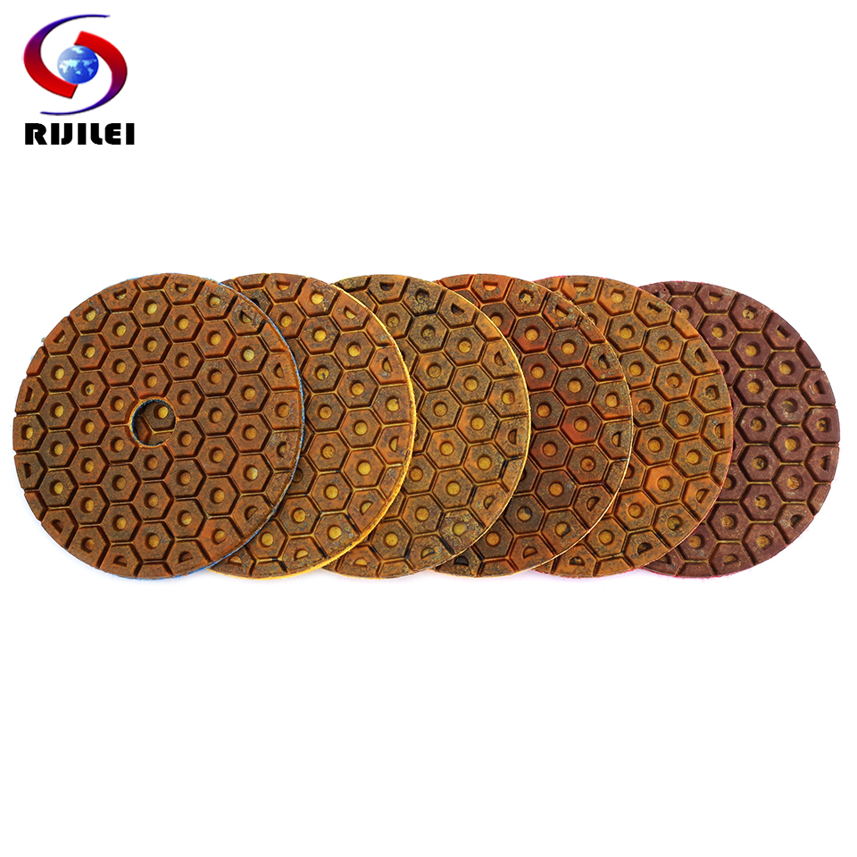 RIJILEI 4inch Super Diamond Polishing Pads 6 Steps Copper Metal Bond Wet Polishing Pad For Granite Marble Stone Grinding Discs