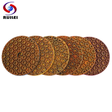 цена на RIJILEI 4inch Super Diamond polishing pads 6 Steps Copper metal bond wet polishing pad for granite marble stone Grinding Discs