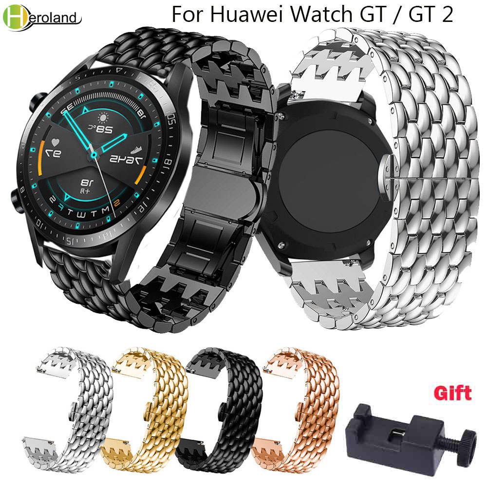 Watch Band For Huawei Watch GT / GT2 46MM Smart Strap Stainless Steel 22MM Watchband For HUAWEI WATCH2 Pro/ Honor Magic Bracelet
