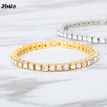 Jinao Nieuwe Hip Hop Armband Tin Legering Goud Zilver Kleur Iced Rhinestone Crystal 1 Rij Tennis Chain Armband Voor Man vrouwen Gift(China)