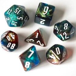 7 шт./компл. красно-синий серый блестящий набор игральных костей DND D4 D6 D8 D10 D % D12 D20 многогранные кости для ролевых игр DND ролевая игра MTG игральн...