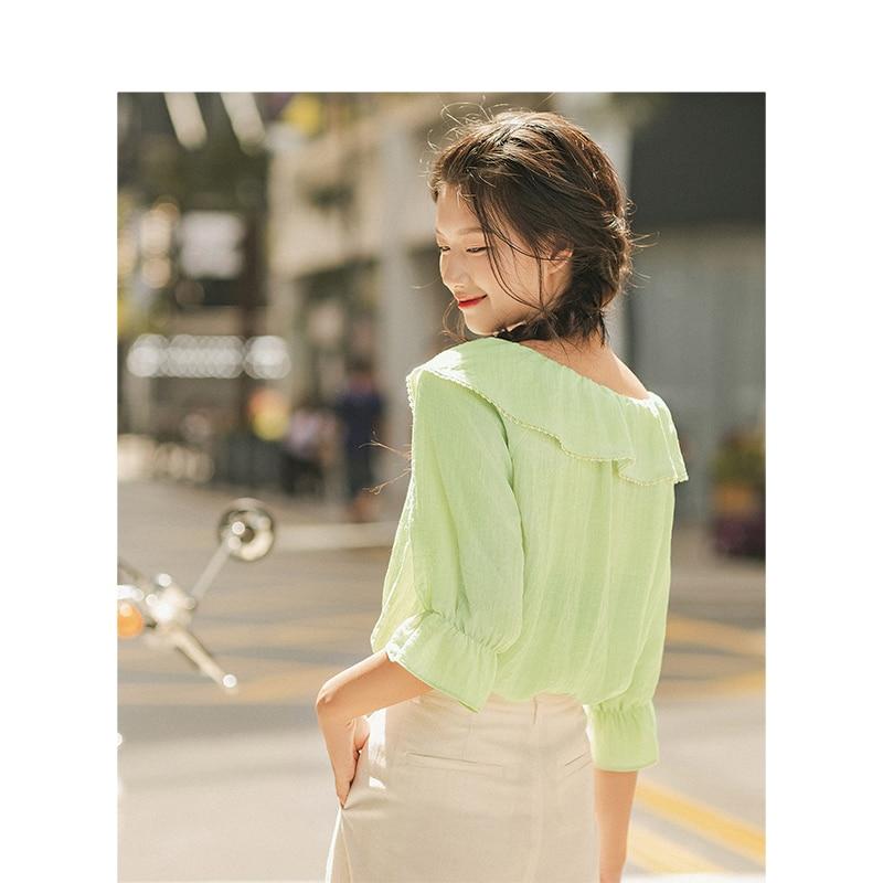 Image 2 - INMAN Spring Autumn Viscose Blending Light Green Lacing Turn Down Collar Flare Medium Sleeve Women BlouseBlouses & Shirts   -