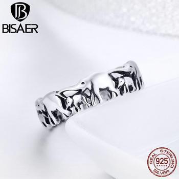 BISAER Original 2019 925 Sterling Silver Vintage Ethnic elephant Animal Stackable Women Finger Rings Vintage Silver Bague GXR344
