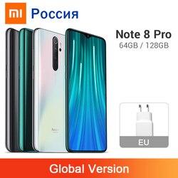 Xiaomi smartphone redmi note 8 pro, telefone celular, versão global, 6gb, 64gb/128gb, 64mp, câmera traseira quad helio g90t 4500mah telemóvel