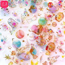 0818 Hipster Cute Stereo PDA Machine Decoration Crystal Adhesive Paper Transparent Waterproof Bronze Label PDA Material