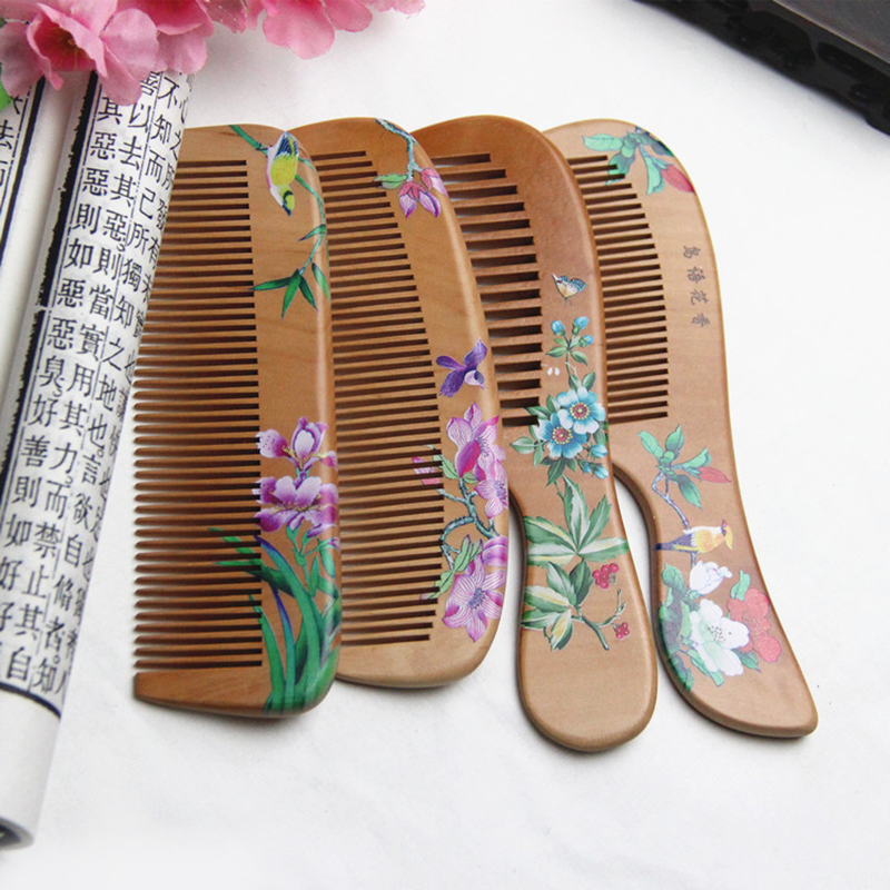1Pcs Peach Wood Comb Flower Painted Anti-Static Natural Head Massage Comb Handmade Wooden Hair Comb Hair Styling Tools For Gift