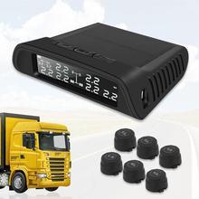 Sistema de supervisión de presión de neumáticos con USB, LCD Universal, TPMS, con 6 sensores externos, reemplazo de batería, pantalla LCD para remolque, furgoneta, RV