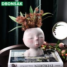 Скандинавский цветочный горшок, скульптура в форме куклы, горшок для портрета из смолы, ваза для домашнего декора, ваза в форме головы
