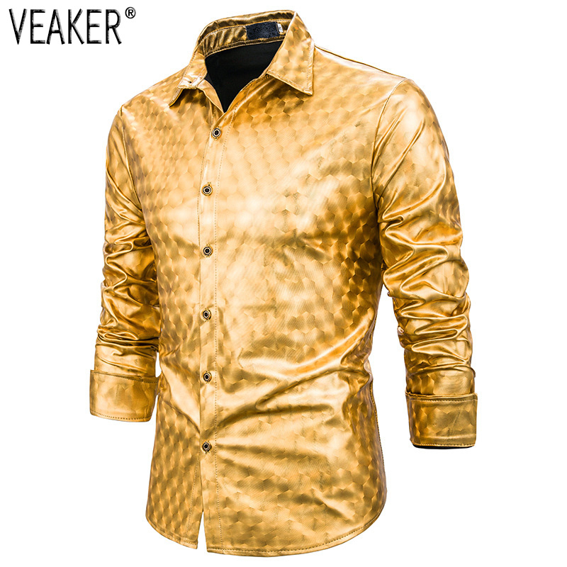 2019 New Men's Gold Silver Shiny Shirt Male Solid Color Plaid Shirt Men Long Sleeves Single Breasted Party Nightclub Shirts