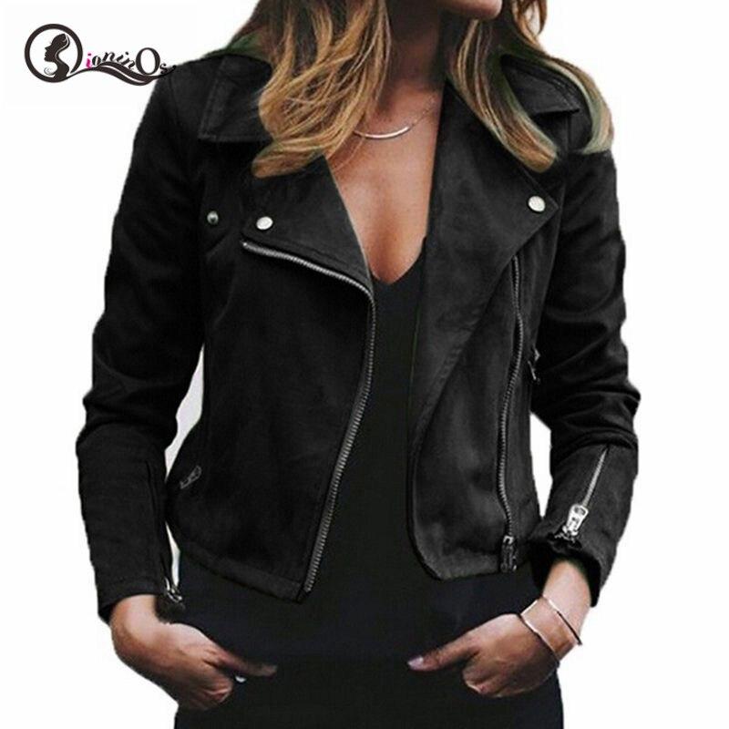Jacket Women Autumn Winter New Lapel Diagonal Zipper Jackets Short Ladies Plus Size Loose Jacket Coat 2XL