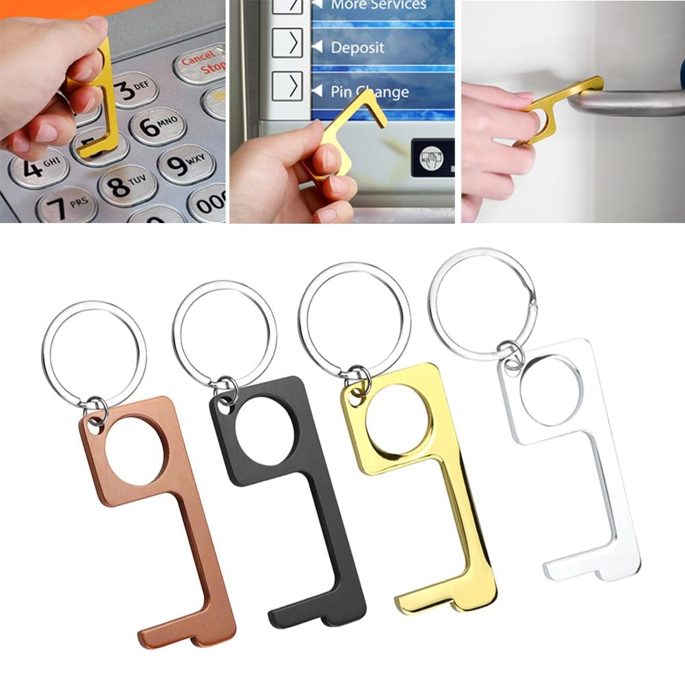 New Handle Key Antibacterial Alloy EDC Door Opener With Key Ring Portable Press Elevator Tool Door Car Motorcycle Key Ring