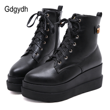 Gdgydh Female Flatform Boots Gothic Black Casual Pointed Toe Platform Wedges For Women Lace-up Winter Shoes Promotion Sale