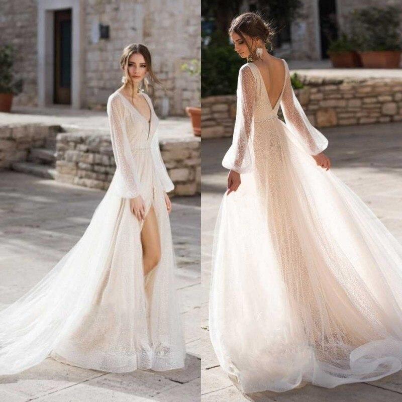 Sparkly Split Bohemian Wedding Dress 2020 Lace Beach Wedding Gowns Long Sleeve V Neck Beaded Vestido De Noiva