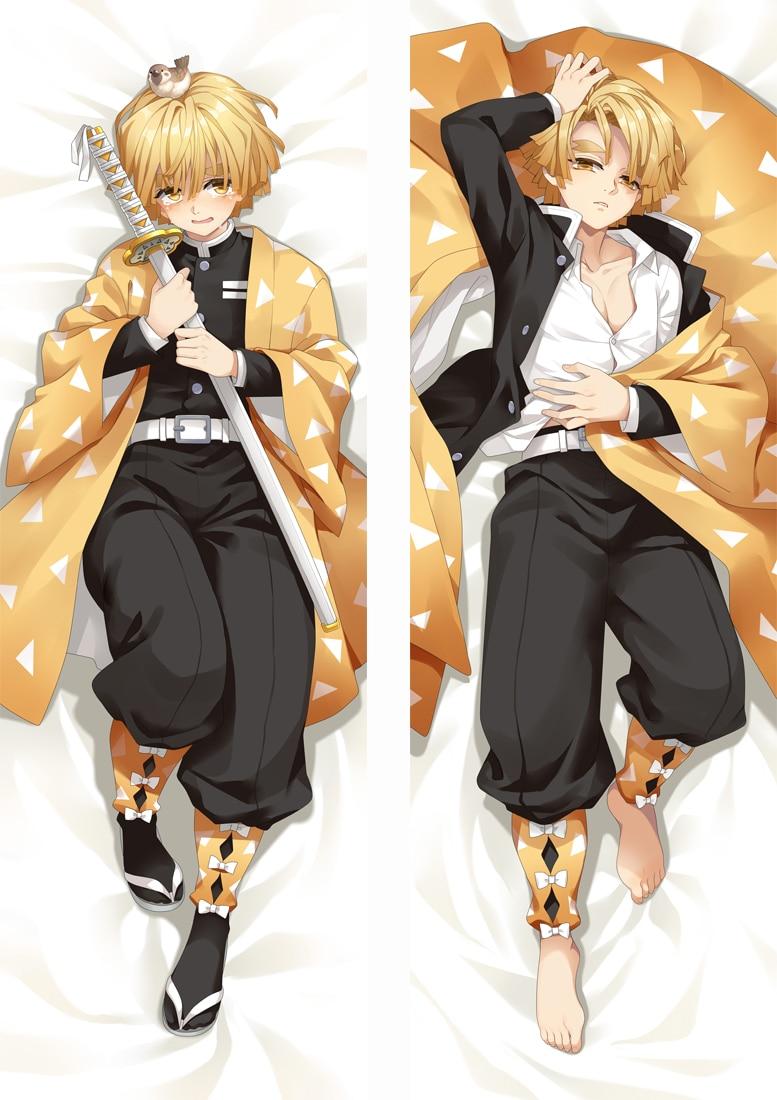 Japanese Anime Dakimakura Demon Slayer: Kimetsu No Yaiba Hugging Body Pillow Case Agatsuma Zenitsu Male BL Otaku Costume Cover