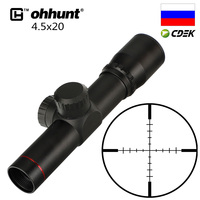 ohhunt 4.5x20 1 inch Compact Hunting Rifle Scope Tactical Optical Sight P4 Glass Etched Reticle Riflescope Flip open Lens Caps