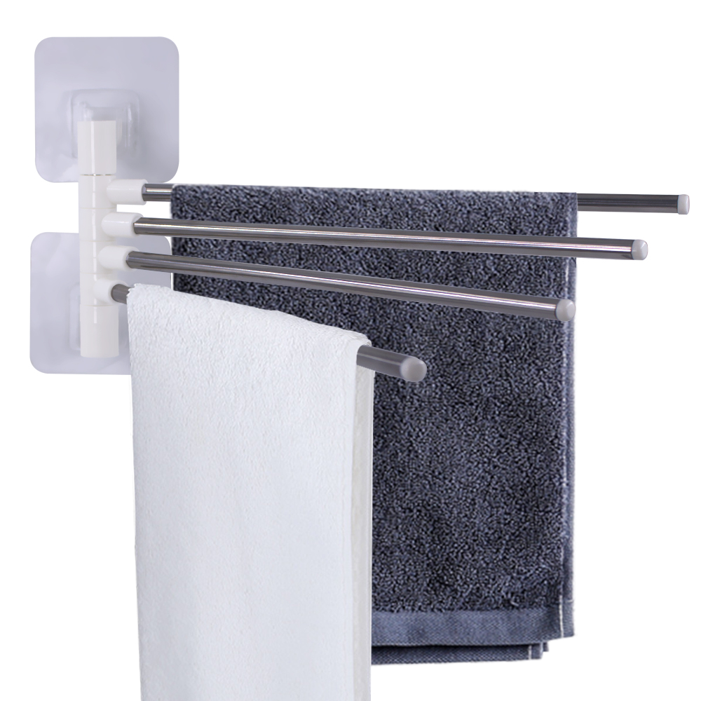 A - Adjustable Stainless Steel Towel Holder 4 Rotating Hanger Multi-functional Kitchen Bathroom Wall-mounted Towels Rack