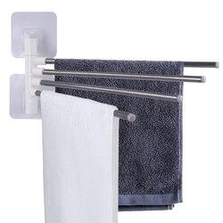 Ar & TREE-A suporte de toalha de aço inoxidável ajustável 4 cabide rotativo multi-funcional cozinha banheiro wall-mounted toalhas rack