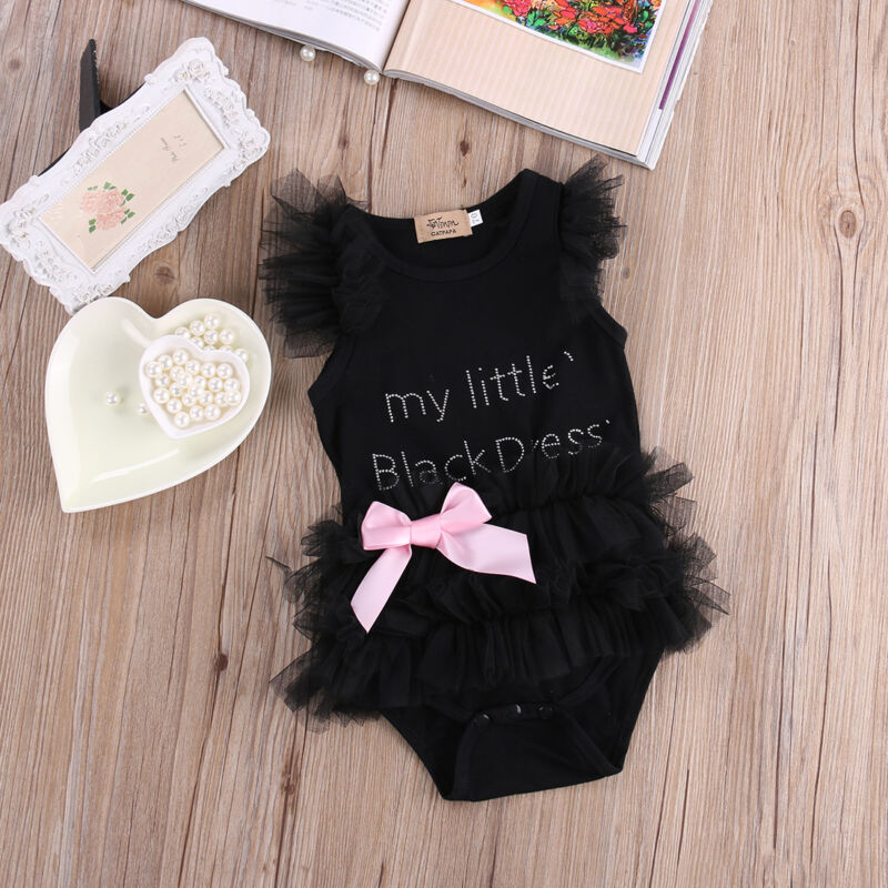 Newborn Baby Girls Romper Lace Black Dress Jumpsuit Outfits Summer Clothes