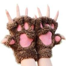 Mittens Bear-Gloves Fingerless Wrist Fluffy Warm Winter Soft Women New Gift Cat Cute