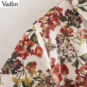 Image 3 - Vadim frauen süße floral print maxi kleid fliege schärpen langarm weibliche casual chic kleider knöchel länge vestidos QD070