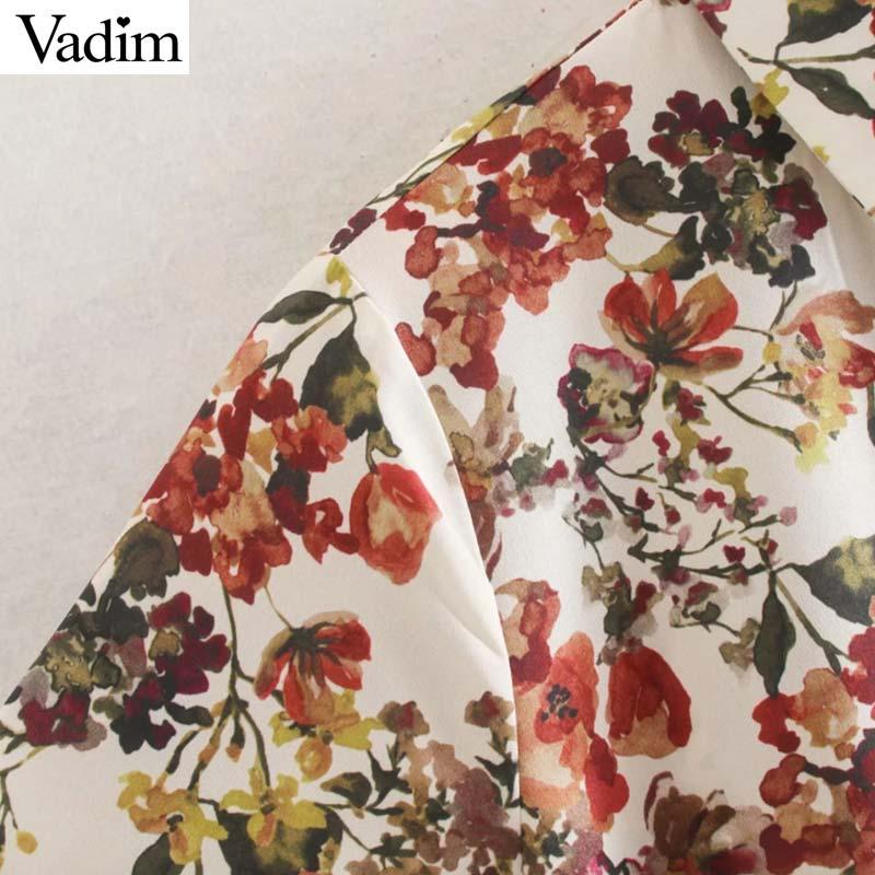 Image 3 - Vadim women sweet floral print maxi dress bow tie sashes long sleeve female casual chic dresses ankle length vestidos QD070Dresses   -