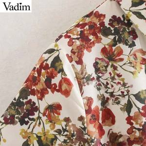 Image 3 - Vadim women sweet floral print maxi dress bow tie sashes long sleeve female casual chic dresses ankle length vestidos QD070