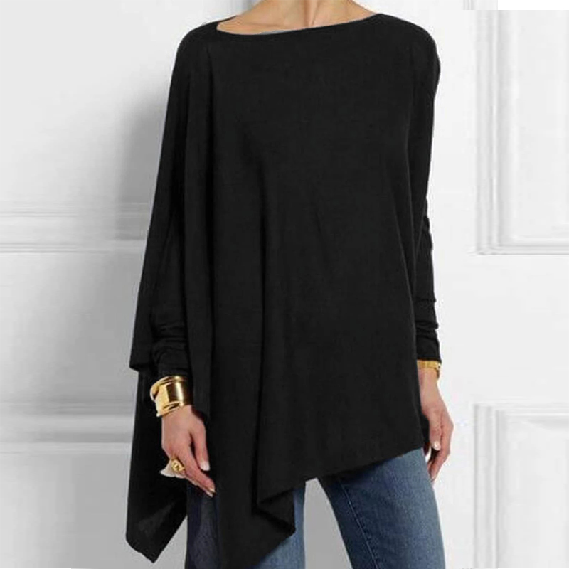 Autumn Long Sleeve Irregular Women Tunic Solid Color O-Neck Womens Tops And Blouses Casual Plus Size Women Blouse