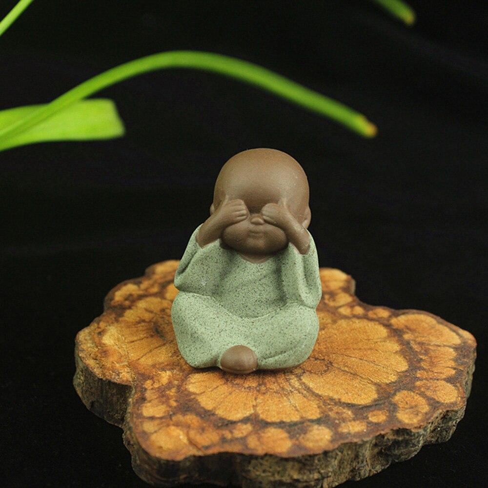 Mini Ceramic Monk Buddha Statue Tea Pet Zen Garden Tea Tray Decoration Craft 1X