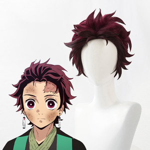 Demon Slayer: Kimetsu no Yaiba Tanjiro Kamado Wigs Short Chestnut Brown Heat Resistant Hair Cosplay Costume Wig + Wig Cap()