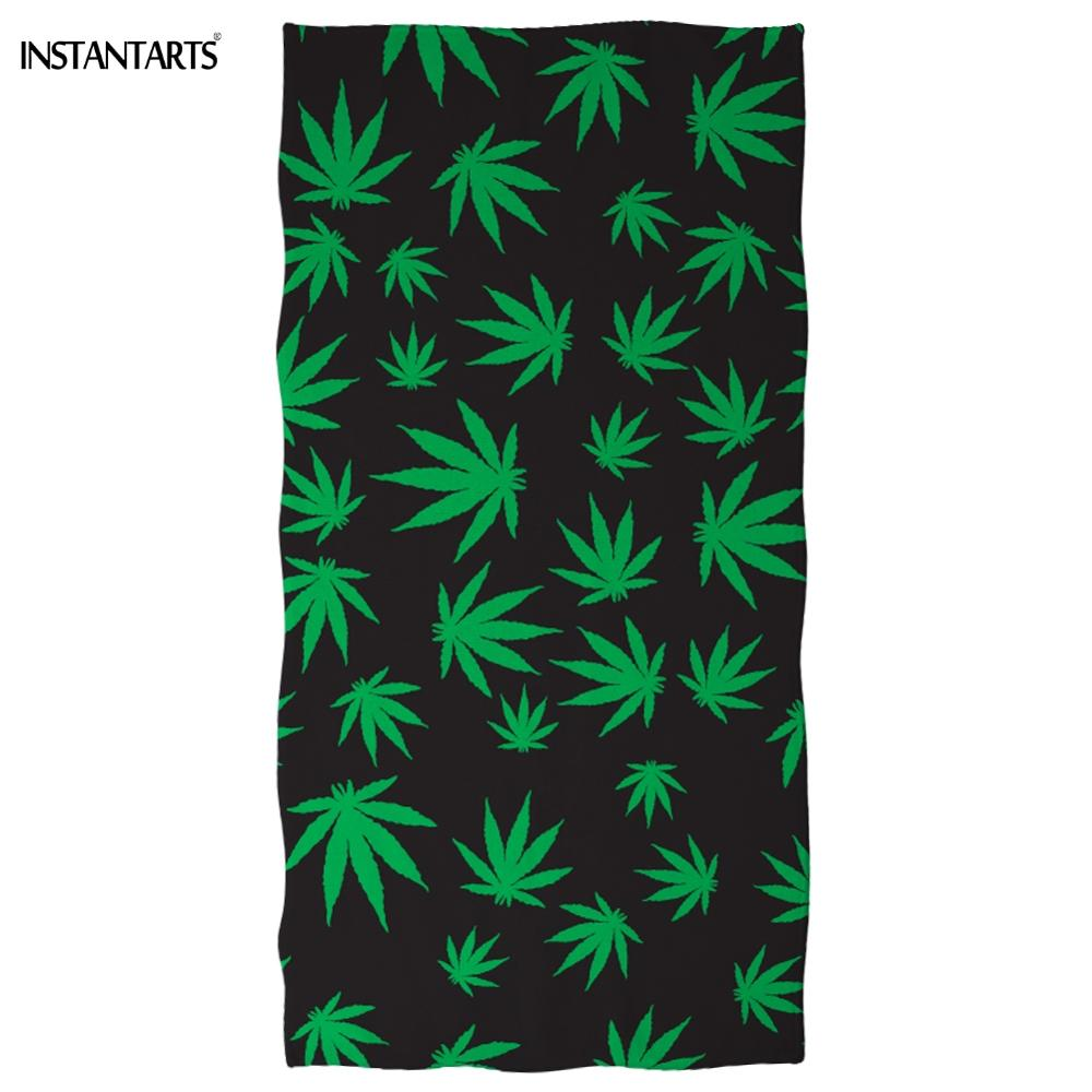 INSTANTARTS 3D Green Weed Leaves/Maple Leaf Printing Beach Swimming Towel Outdoor Bathing Towel Sports Gym Towels Dropshipping