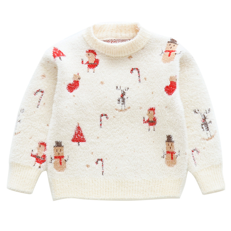 Toddler Girl Winter Clothes Children Imitation Mink Velvet Christmas Snowman Sweater Fall Kids Cartoon Pullover Knitted Sweaters in Sweaters from Mother Kids