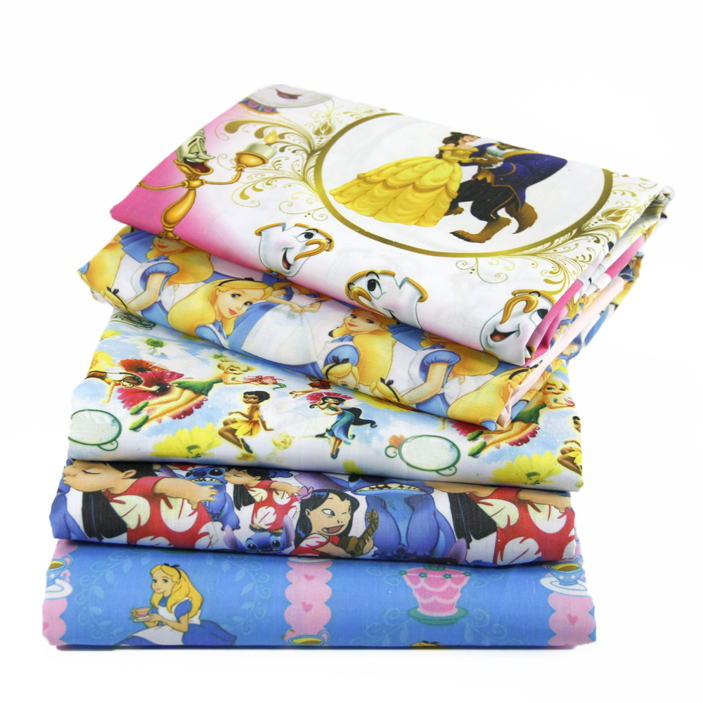 50*145cm Cartoon Patchwork Polyester Cotton Fabric for Tissue Kids Princess Dress Bedding Home Textile for Sewing,1Yc459