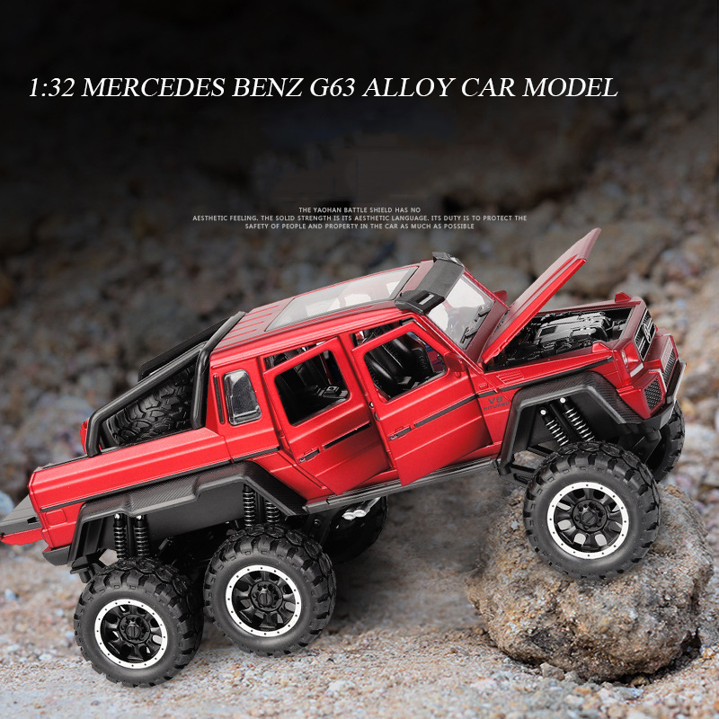 1:32 Mercedes Benz BRABUS AMG G63 6X6 Off Road Metal Alloy Car Model Diecast Toy Vehicle Car Toys For Children Xmas Gifts