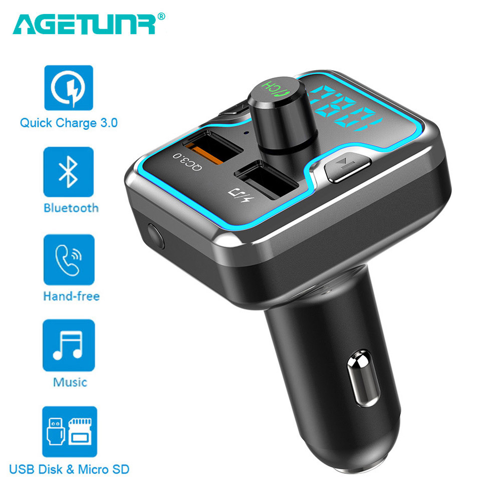 AGETUNR Bluetooth Car Kit Hands-free Set Mp3 Music Player FM Transmitter QC 3.0 Quick Charge Dual USB Car Charger 6 LED Lights