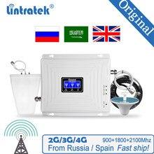 Amplificateur de Signal cellulaire Lintratek 900 1800 2100 GSM amplificateur à trois bandes répéteur de Signal Mobile DCS WCDMA 2G 3G 4G LTE répéteur