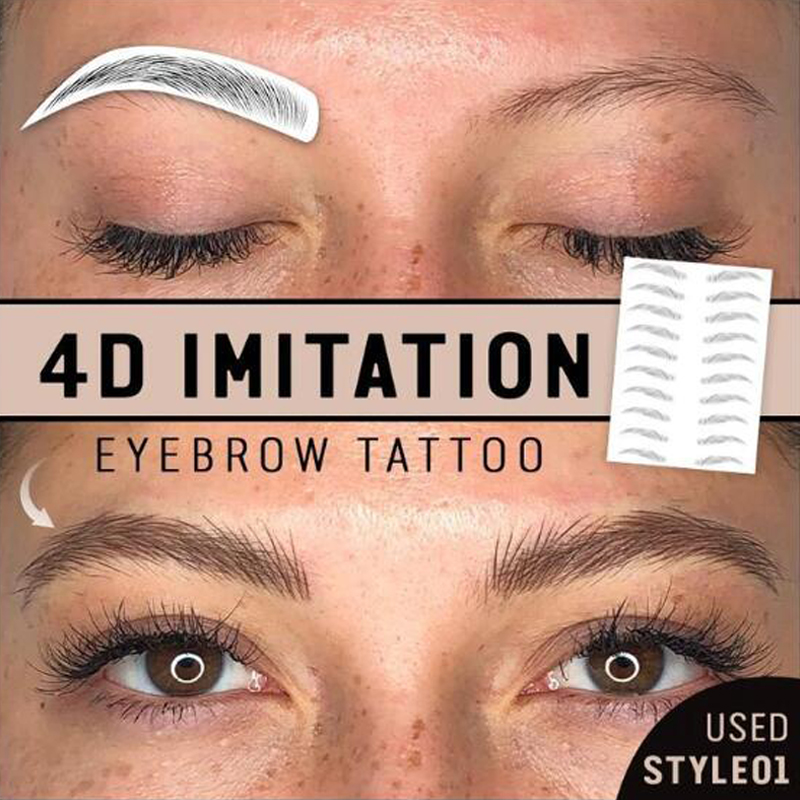 Newest 4d Hair Like Authentic Eyebrows Temporary Eyebrow Tattoo Sticker Waterproof Lasting Eyebrow Tattoo Sticker False Eyebrows