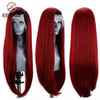 EEWIGS-peluca larga lisa de encaje resistente al calor para mujer Peluca de color rojo Rubio degradado, peluca sintética con malla frontal, sin pegamento, color morado oscuro